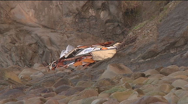 Crab boat washes ashore 9