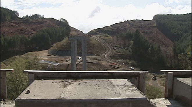 Demolition of bridge supports on Highway 20 near Eddyville