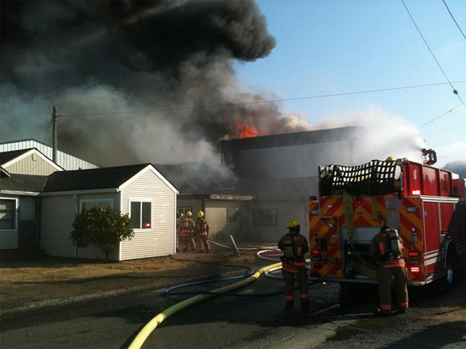 Crews battle fire in Seaside; firefighter hurt