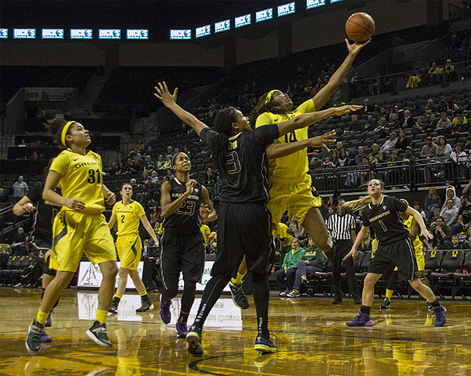 Ducks women take down Washington Huskies, 101-85