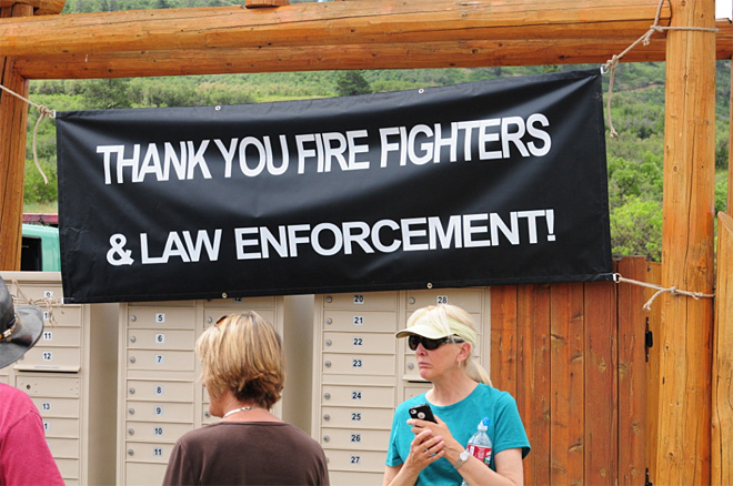 Eric La Price photo of thank you sign on the Weber Large fire in Colorado