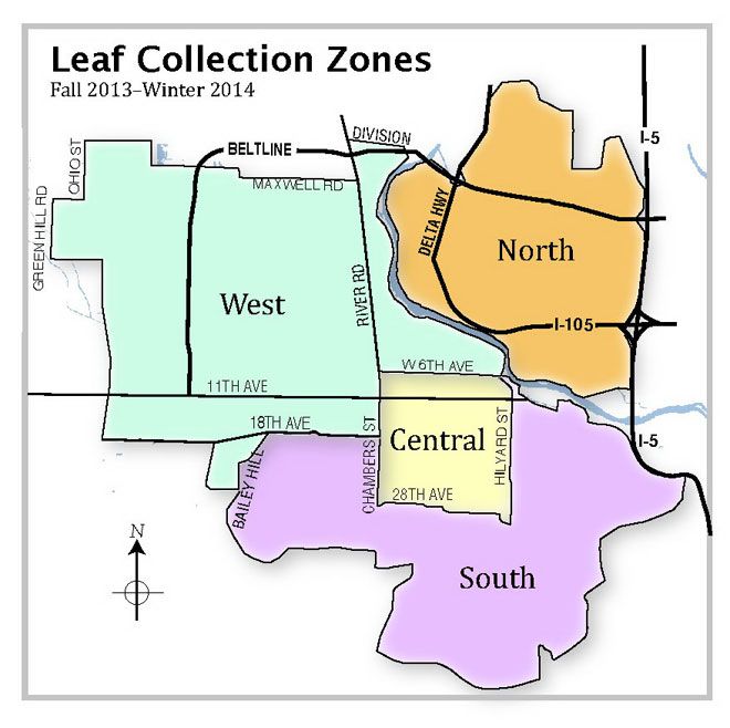 Eugene Leaf Collection Zone Map