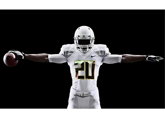 Nike Football - Oregon White Vapor uniform front