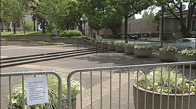 Federal courthouse fenced off July 12