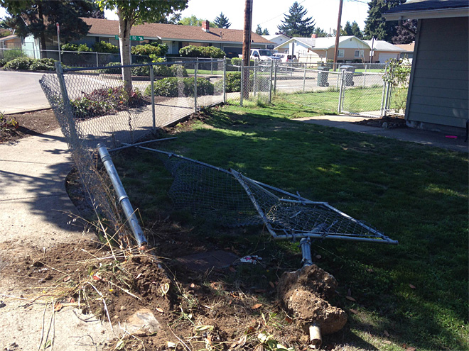 Fence damaged in brief car chase (6)