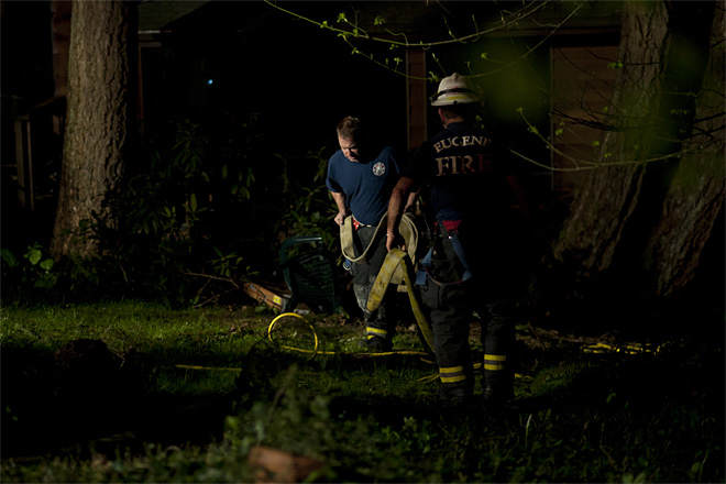 Fire crews find deceased man inside burning South Eugene home - 04 - Photo by Tristan Fortsch
