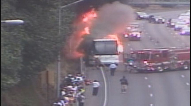 Football team's bus goes up in flames on way to Sheldon game