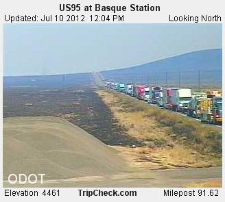 Fire in SE Oregon disrupts Highway 95 traffic July 10