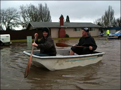 Floating the flood waters in Corvallis