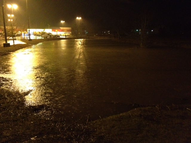 Flooded parking lot in Albany January 18