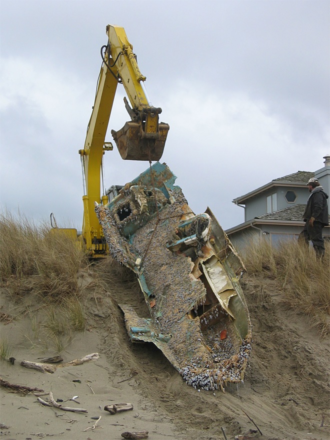 Crews haul tsunami debris off Oregon beach