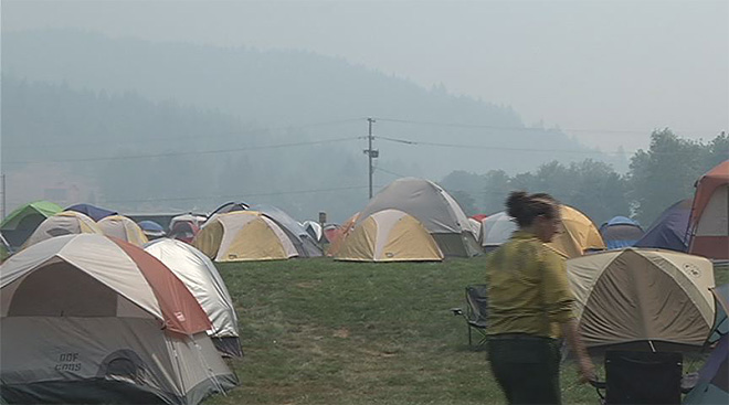 Tents holding the families evacuated by the Douglas Complex near Glendale