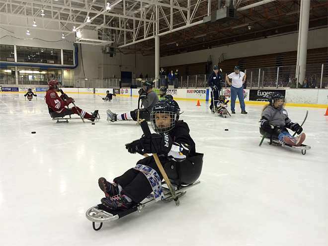 Group of 40 learns sled hockey