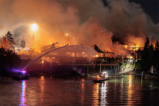 Investigation begins in 5-alarm fire at vacant Hayden Island hotel