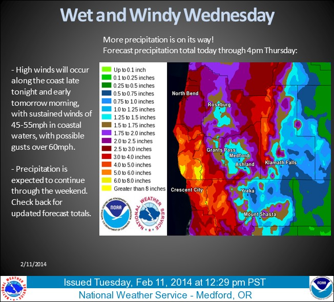 Flood watch for South Coast; high winds for storm-weary valley