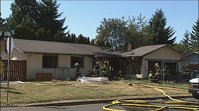 House fire on Delta Road in north Eugene  01