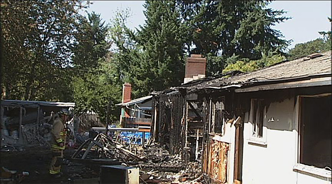 House fire on Delta Road in north Eugene  05
