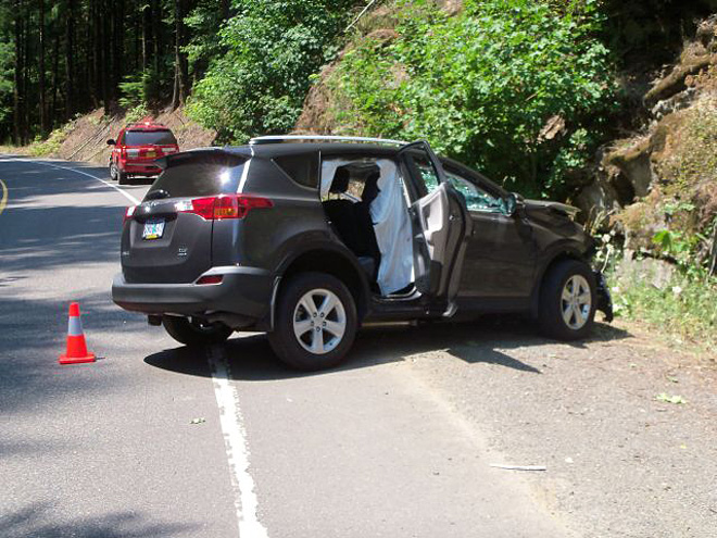 Driver, 77, seriously injured when SUV crashes into rocky hillside