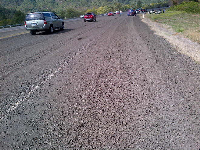 Asphalt grindings spill on I-5, trigger car crashes