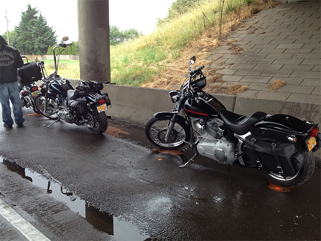 Car hits motorcyclist stopped along I-5 in Eugene