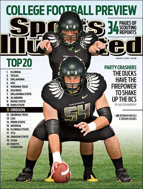 Jeremiah Masoli and Jordan Holmes on cover of Sports Illustrated