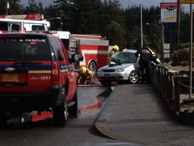 Crews use Jaws of Life to remove injured woman from car