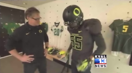 Duck football uniforms on 'CBS Sunday Morning' show