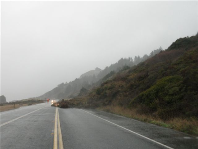 Landslide on Hwy 101 south of Gold Beach