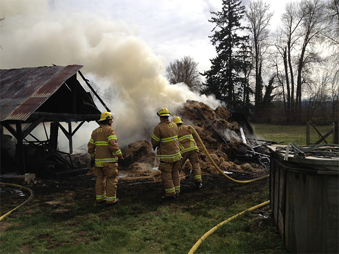 Lebanon Firefighters battle haystack blaze (2)
