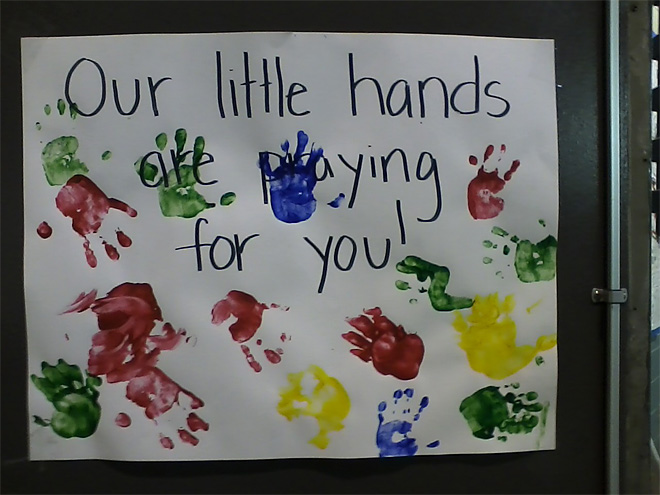 Little hands pray for fire crews on High Park fire in Colorado