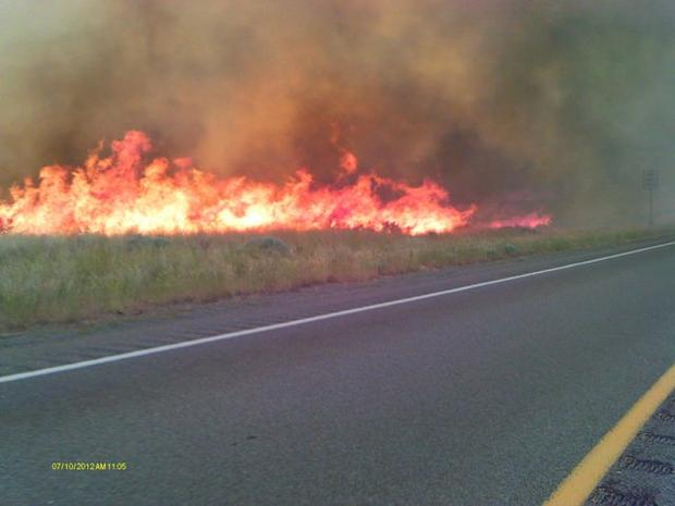 M. Stearly photo of Long Draw fire along Highway 95