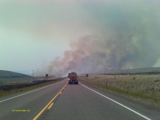 M. Stearly photo of smoke from the Long Draw fire over Highway 95
