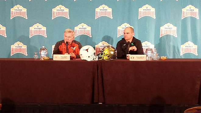 Mack and Mark with final statements prior to the Alamo Bowl - Photo by Tom Ward