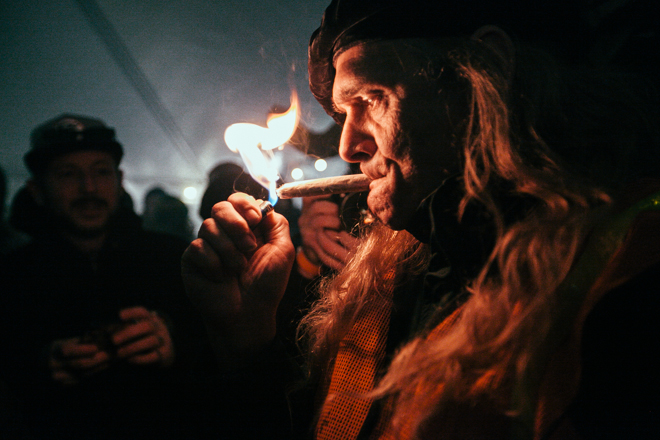 Marijuana lovers toke up in celebration of legal pot anniversary