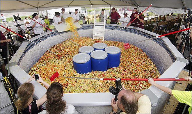 UMass students feast on 15,000-pound fruit salad
