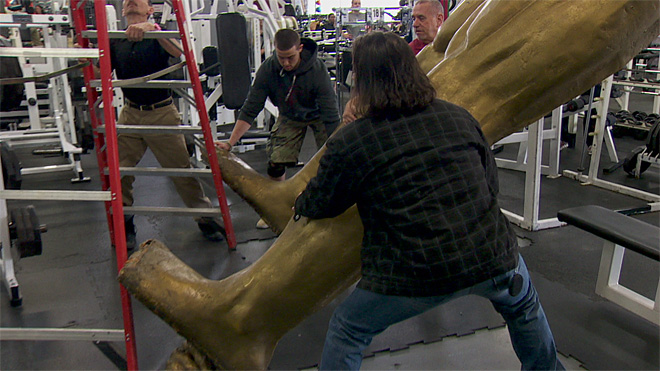Moving a giant gold statue