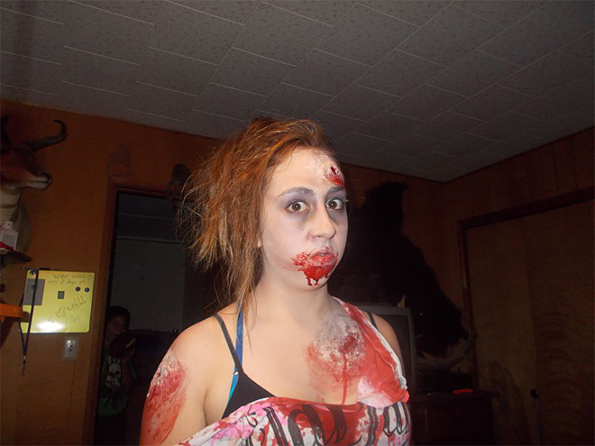 My daughter Kierstyn going as a Zombie - Sent in by Joy Doyle
