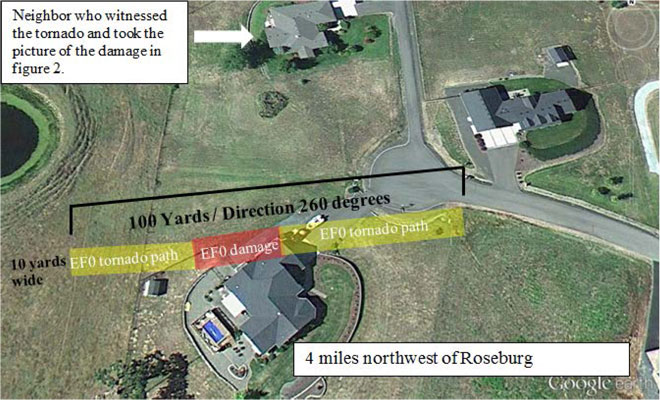 NWS map of June 2013 Roseburg tornado