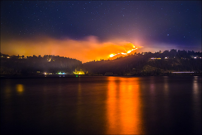 Highway 141 Fire - Night Photos