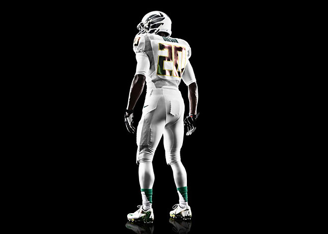 Nike Football - Oregon White Vapor uniform back