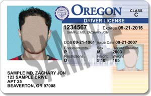 Oregon license 2007-present