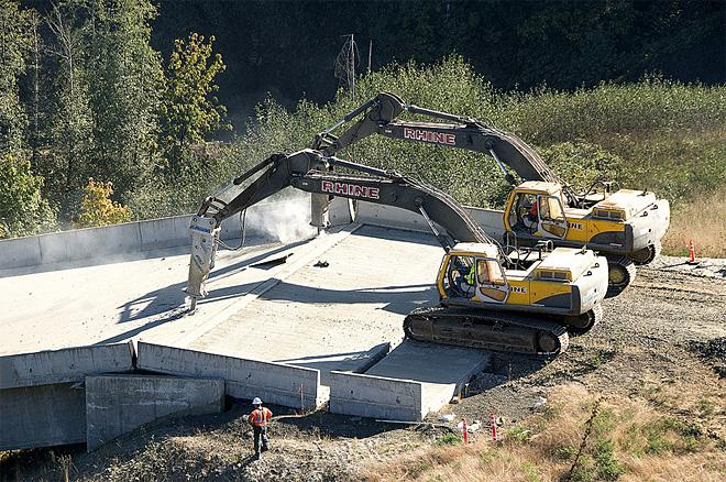 ODOT photo of demolition of Highway 20 bridge project September 2012