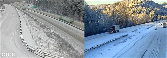 Chains required south of Eugene on snow-packed I-5