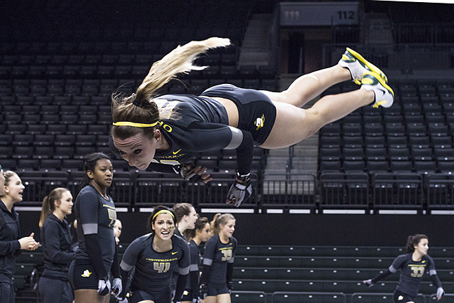 Oregon Acrobatics and Tumbling scores big in 2nd season meet (Photo by Joseph Stefan)