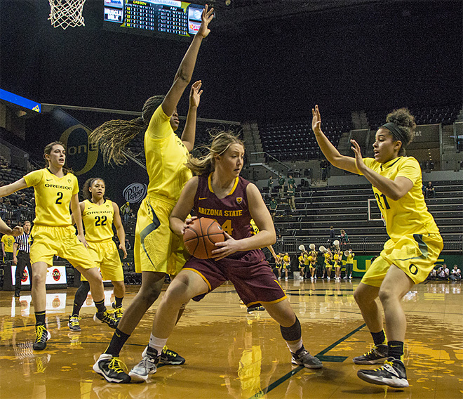 Oregon women beat Arizona State 98-90 at Matt Knight Arena - 01