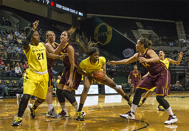 Oregon women beat Arizona State 98-90 at Matt Knight Arena - 06