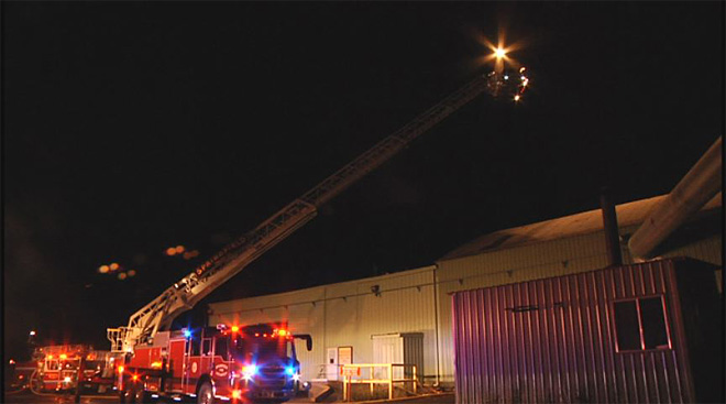Pacific States Plywood mill catches fire early Friday morning  08
