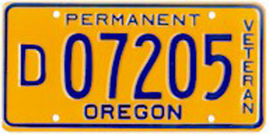 Permanent disabled veteran plate