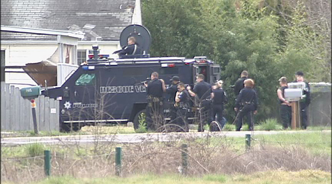 Man with pellet gun arrested after police move in with armored truck