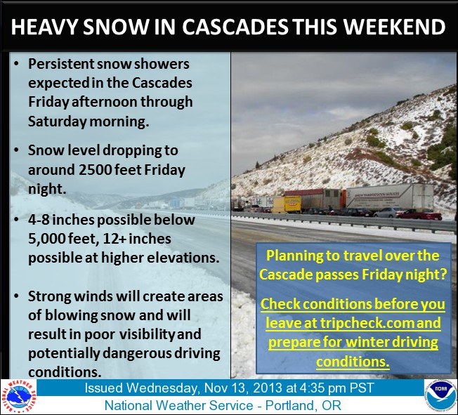 Snow in forecast for Cascades
